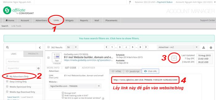cah lay link san pham tu CJ de gan vao blog