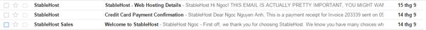 email xac nhan da mua host thanh cong