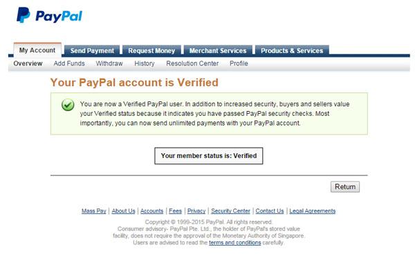 Tài khoản đã được Verified