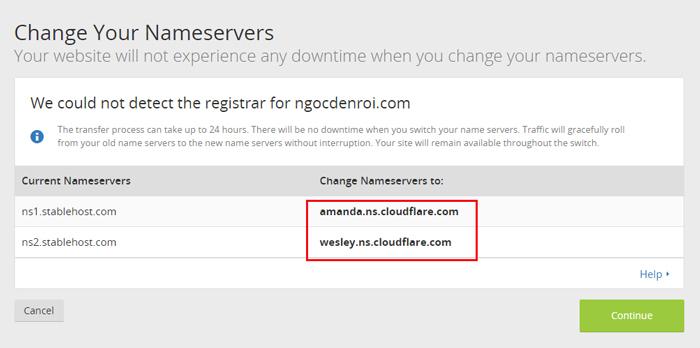 Doi nameserver do cloudflare