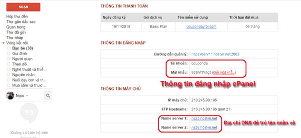 email chua thong tin cua host