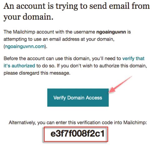 xác minh domain với mailchimp