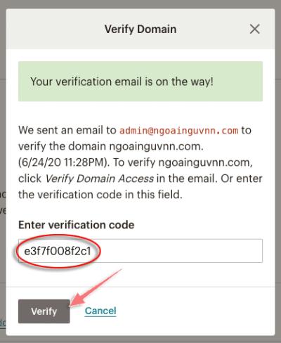 cách xác minh domain trong tai khoản mailchimp