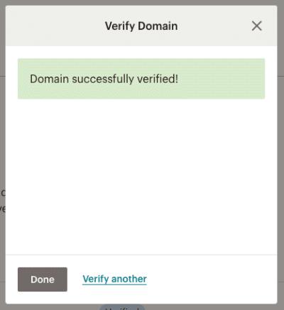 xác minh email tên miền thành công với mailchimp