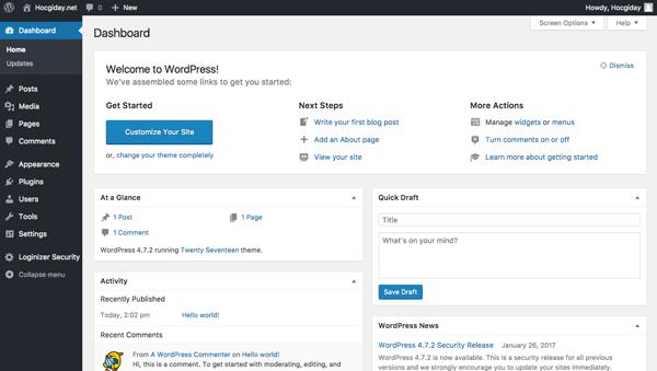 trang admin cua wordpress