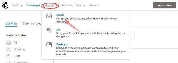 tạo chiến dịch gửi mail tự động trong mailchimp