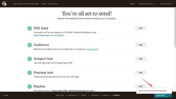 cách tạo chiến dịch rss email