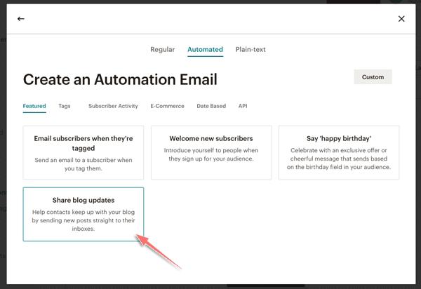tạo email tự động trong mailchimp