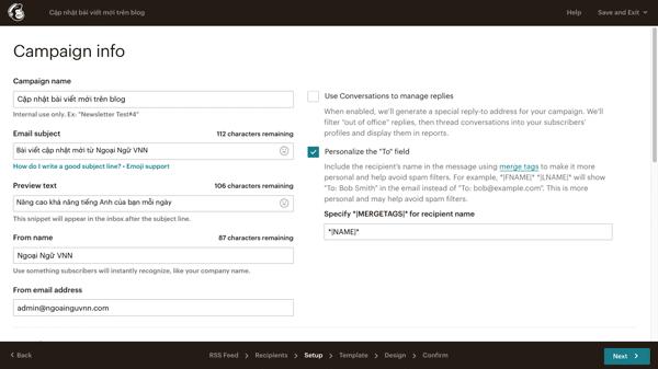 cách tạo email tự động trong mailchimp
