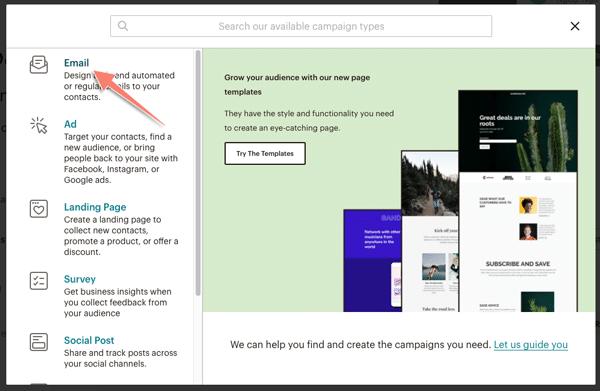 tạo email gửi đến khách hàng trong mailchhimp