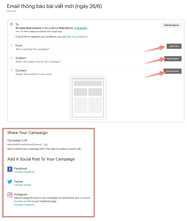 cách tạo chiến dịch email trong mailchimp