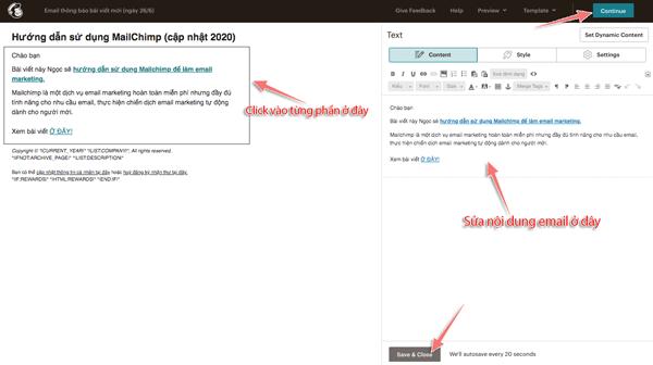 cách soạn nội dung email trong mailchimp