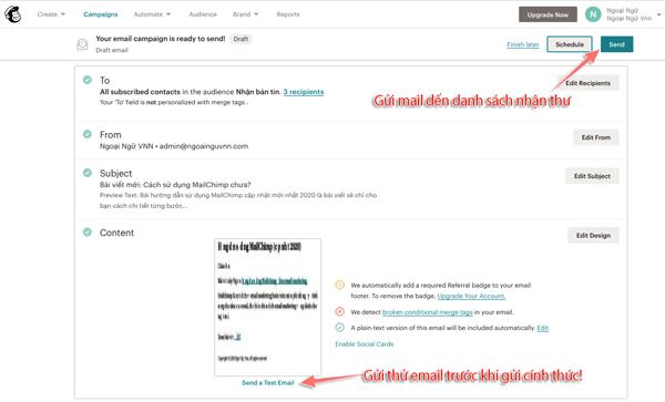 cách gửi email marketing bằng mailchimp
