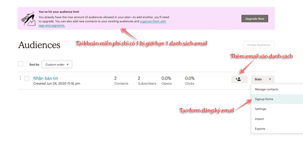 tạo danh sách email trong mailchimp