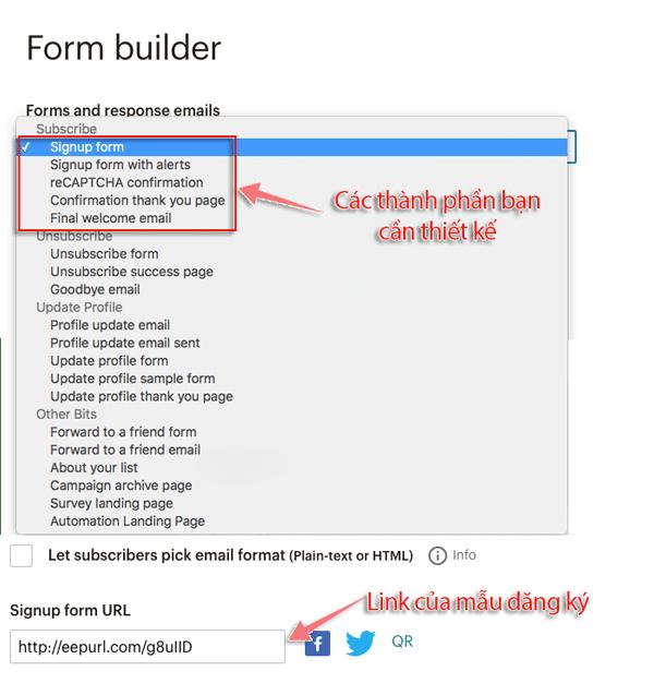 hướng dẫn tạo form đăng ký email