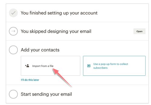 thêm danh sách email vào mailchimp
