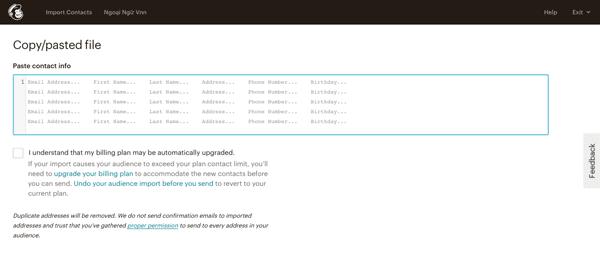 nhập danh sách email vào mailchimp thủ công