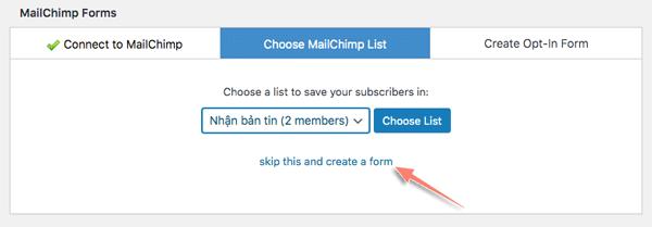 tích hợp biểu mẫu đăng ký email