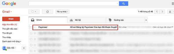 email bao dang ky payoneer thanh cong