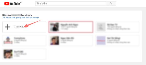 tao kenh youtube moi tren tai khoan gmail cu