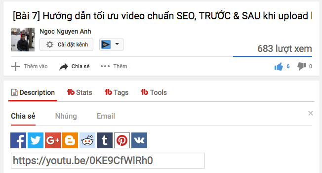 chia sẻ video lên mạng xã hội hỗ trợ công việc seo video