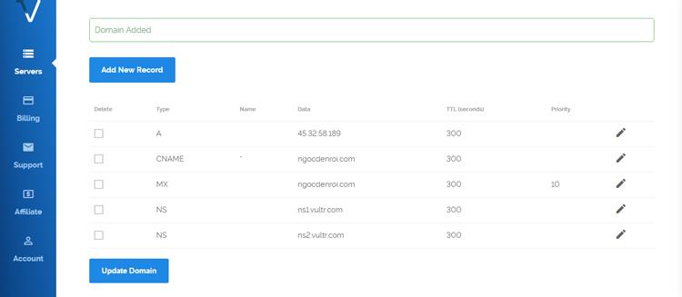tạo DNS trên Vultr