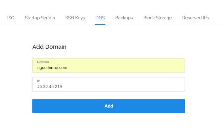 tao DNS trên VPS Vultr