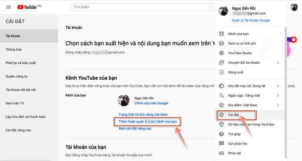 tạo kênh video từu tài khoản gmail cũ