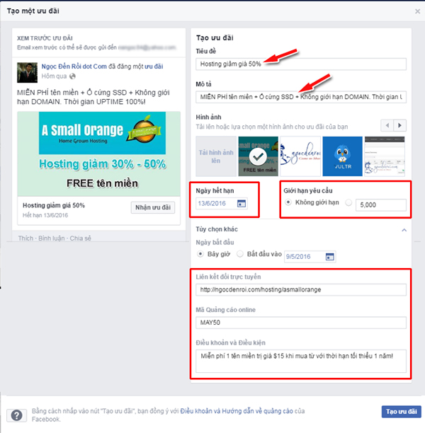 hướng dẫn sử dụng chức năng Facebook offer