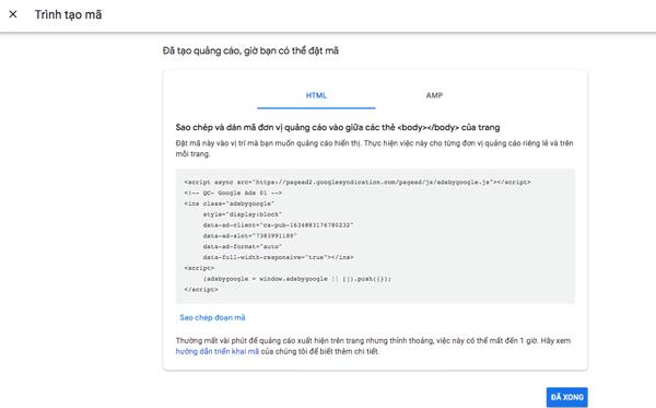 chèn mã quảng cáo vào html website