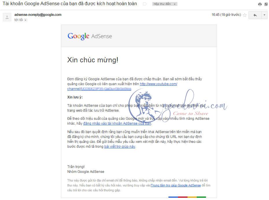 đăng ký adsense cho youtube thành công