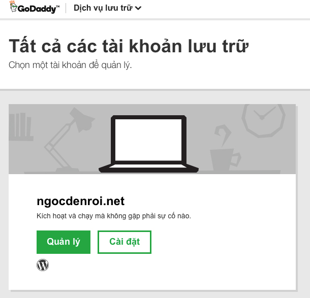 quản lý GoDaddy WordPress Hosting