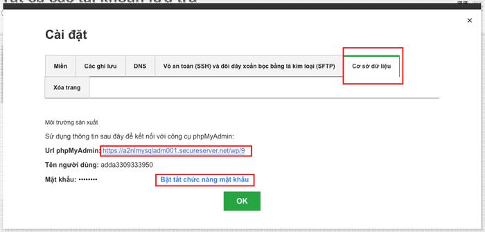 hướng dẫn đăng nhập phpmyadmin của godaddy hosting