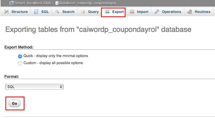 export dữ liệu wordpress