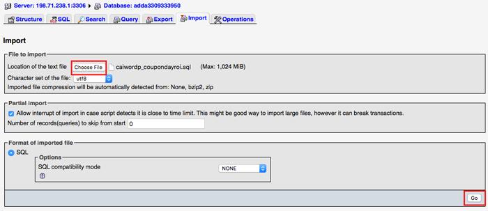 cách import database