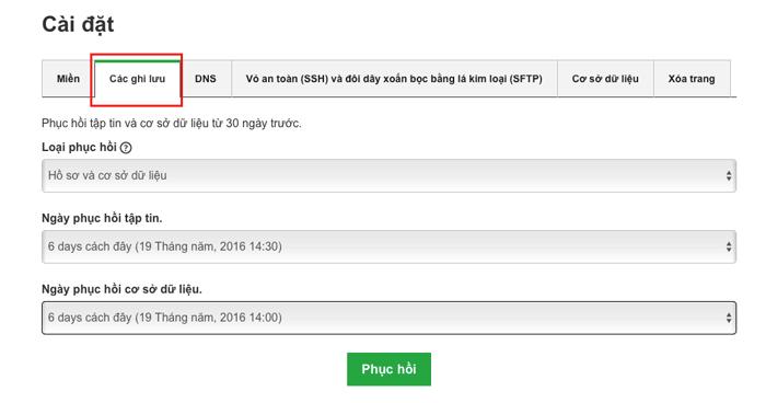 hướng dẫn khôi phục lại website sử dụng godaddy wordpress managed hosting