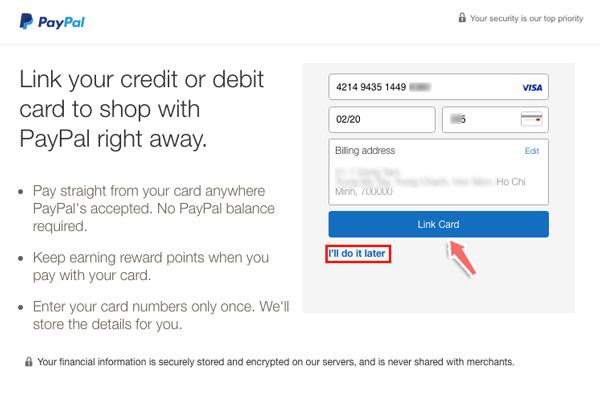 cách liên kết thẻ visa khi đăng ký paypal