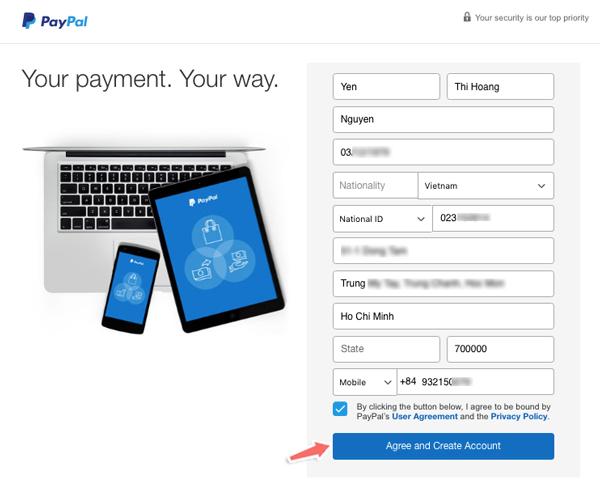 cách điền thông tin cá nhân khi đăng ký tài khoản Paypal