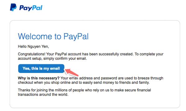 verify email khi đăng ký paypal