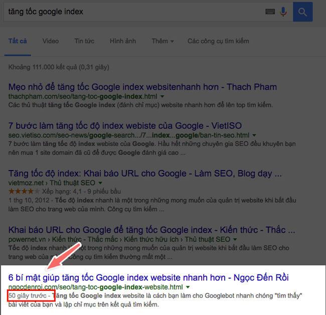 cách tăng tốc google index bài viết