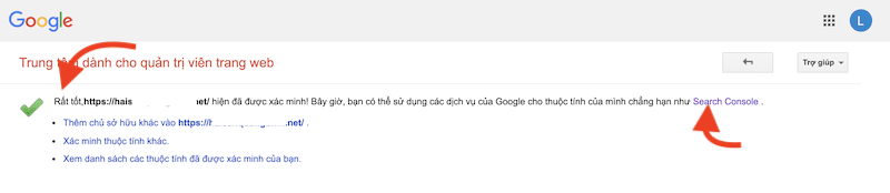 xác minh google thành công