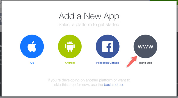 tạo app id trên facebook