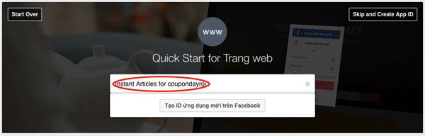 Tạo ID ứng dụng mới trên Facebook