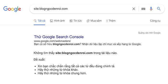 kiểm tra blog đã được google lập chỉ mục hay chưa