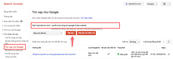 sử dụng chứ năng tìm nạp như Google
