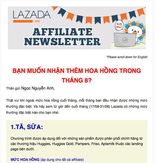 email cập nhật từ chương tình tiếp thị liên kết của lazada