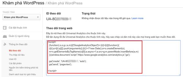 chèn mã google analytic vào wordpress