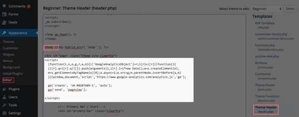 thêm mã google analytics vao wordpress