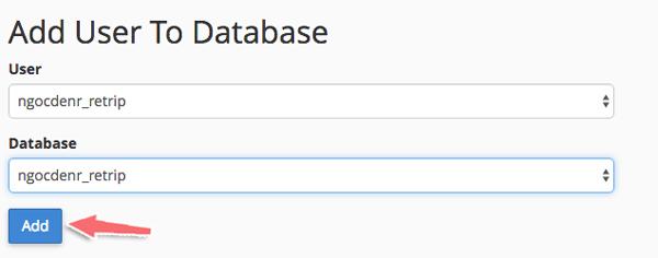 cấp quyền truy cập cho database