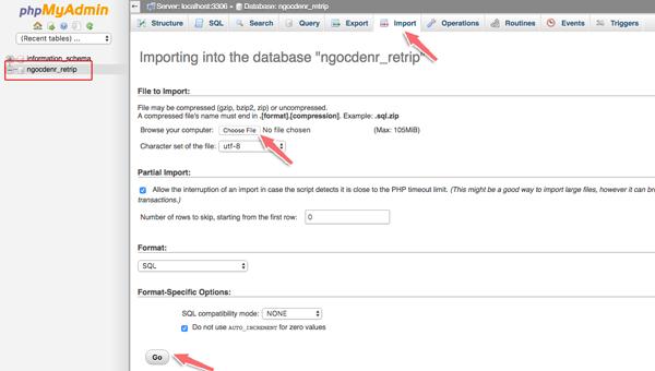 Import database lên host cpanel